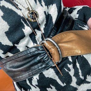 Authentic tan/black Chanel wrap belt
